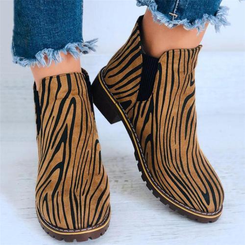 Stylish Wear-Resistant Chunky Low Heel Zebra Pattern Short Boots