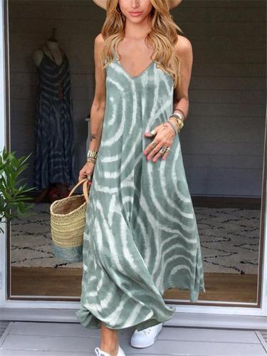 Bohemian Style V Neck Adjustable Spaghetti Strap Flare Maxi Dress
