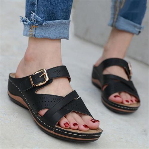 Casual Lightweight Open-Toe Wedge Heel Sandals Slippers
