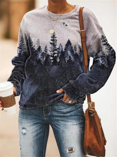 Cozy Round Neck Long Sleeve Printed Thicken Fleece Sweatshirt