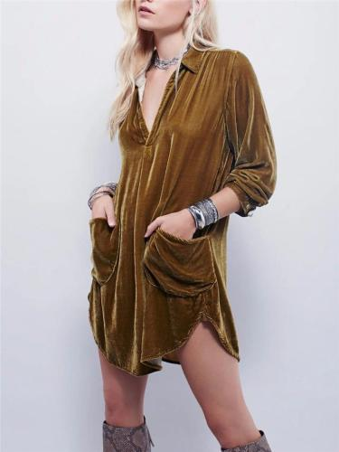 Loose Fit Low V Neck Golden Velvet Pocket Long Sleeve Midi Shirt Dress