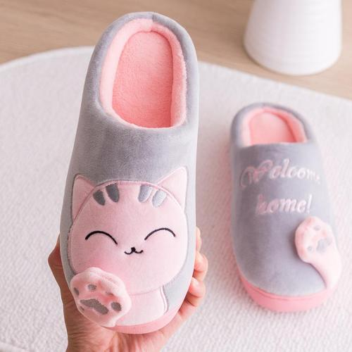 Warm Breathable Non-Slip Durable Cute Cat Cotton Slippers