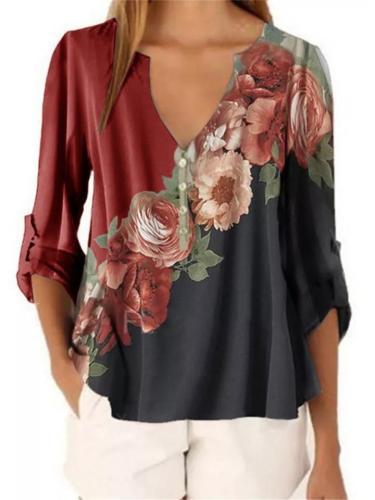 V Neck Color Block Floral Printed Chiffon Tops