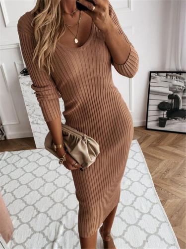 Slim Fit V Neck Long Sleeve Solid Color Pullover Long Dress