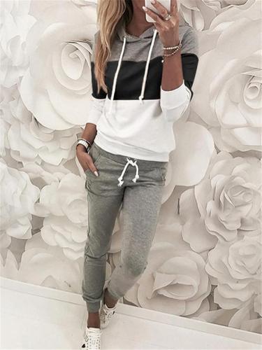 Contrasting Tracksuit Sets Drawstring Hooded Sweatshirt + Pocket Sweatpants
