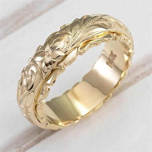 14k Yellow Gold Rose Floral Ring for Anniversary Gift
