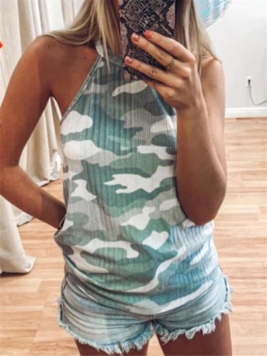 Stylish Halter Neck Sleeveless Camouflage Printed Tank Tops