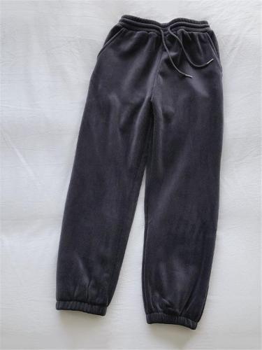 Winter Waist Drawstring Elastic Cuff Thicken Wide Leg Sweat Pants