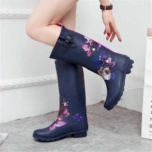 Chic Design Floral Printed Below- Knee Waterproof Rain Boots