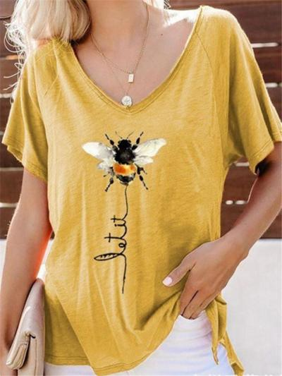 Relaxed Fit V Neck Bee Printed Short Sleeve Pullover T-Shirt