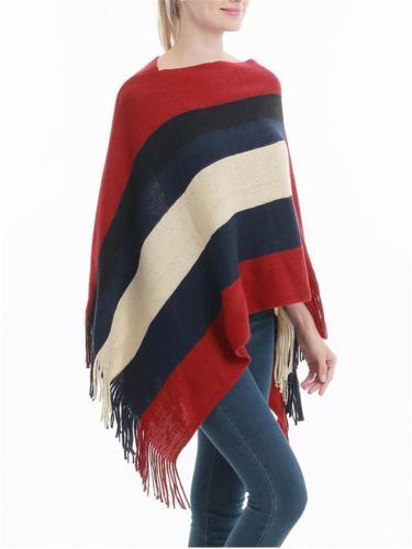 Warm Tassel Stripe Knitted Shawl Pullover