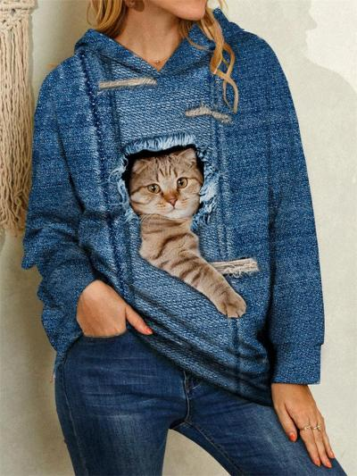 Loose Fit Cute Cat Printed Long Sleeve Hooded Pullover Sweatshirt