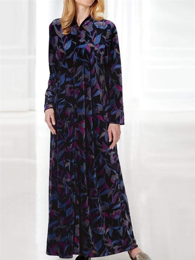 Stylish Stand Collar Leaf Printed Long Sleeve Loose Fit Maxi Dress