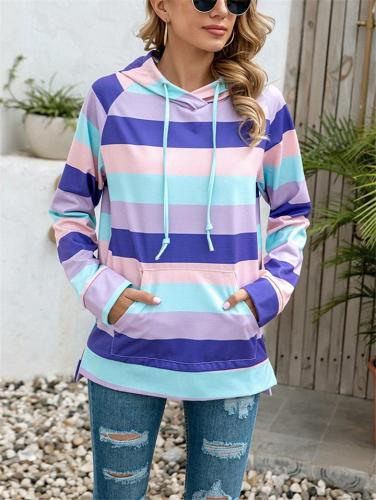 Relaxed Fit Floral Striped Pouch Pocket Drawstring Hooded Sweatshirt