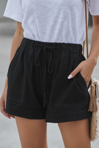 Super Comfy High Waist Elastic Waistband Lace Up Shorts