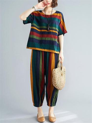 Comfy Multicolor Stripe Short Sleeve Sets T-shirt + Pants