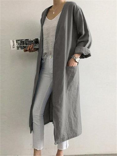 Loose Casual Long Coat For Women