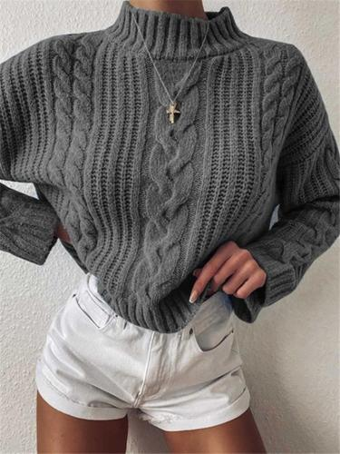 Relaxed Fit High Neck Solid Color Cable Knit Cropped Sweater