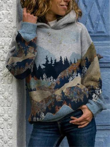 Loose Fit Print Fleece Long Sleeve Hooded Sweatshirt