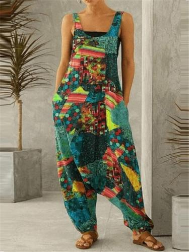 Trendy Loose Fit Scoop Neck Printed Sleeveless Pocket Jumpsuit
