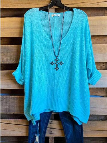 Loose Casual Solid Color V Neck Ribbed Knit Pullover Sweater