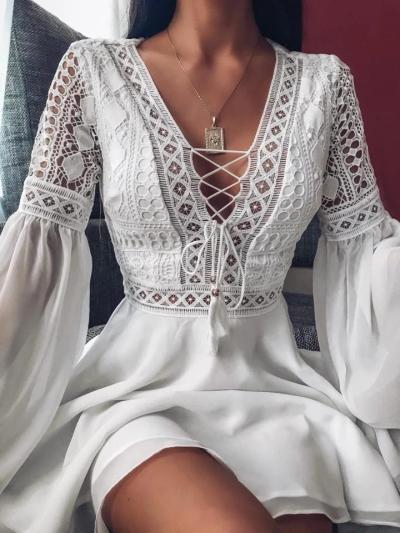 Fashionable Floral Lace Cutout Flare Long Sleeve Chiffon Pleated Dress