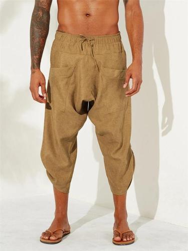 Men's Casual Ethnic Style Calf-Length Drawstring Loose Harem Pants