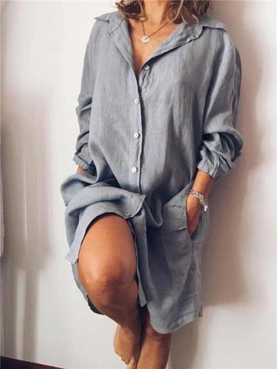 Loose Fit Lapel Collar Button Up Long Sleeve Pocket Midi Length Shirt