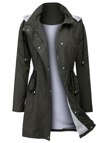 Fashion Stripe Patchwork Waterproof Waist Tie Hooded Trench Coat