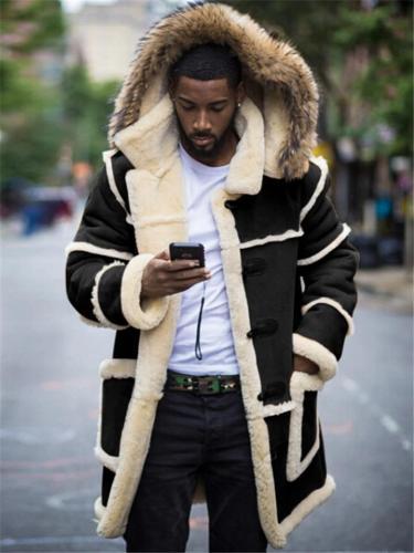 Mens Fashion Winter Warm Flocking Patchwork Hooded Pockets Fur Coat