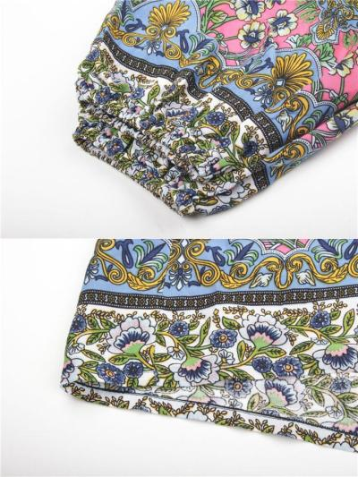 Stylish Off Shoulder Elastic Cuff Floral Long Sleeve Pullover Tops