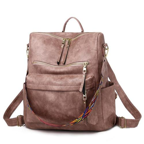 Retro Style Multi-Pocket Adjustable Strap Soft Touch Backpack