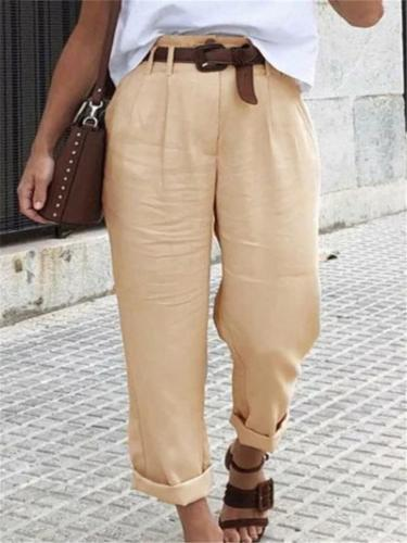 Women Casual Pure Color Straight Trousers