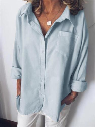 Loose Fit Lapel Collar Long Sleeve Chest Pocket Button Up Blouse