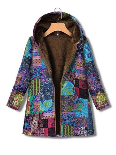Ethnic Print Zipper Hooded Plush Thick Cotton Coat