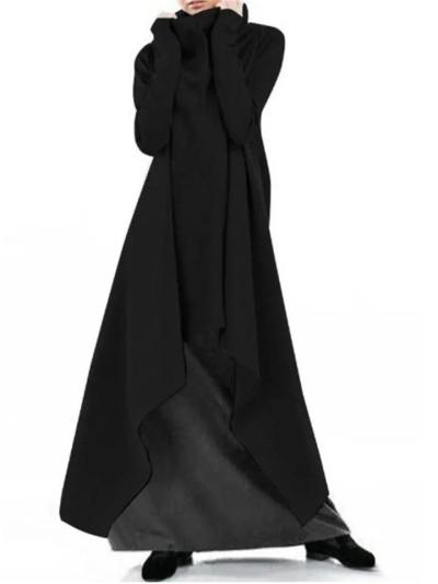 Relaxed Fit Asymmetric Hem Long Sleeve High Neck Long Sweatshirt