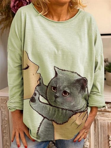 Loose Fit Round Neck Cute Cat Printed Long Sleeve Pullover Tops