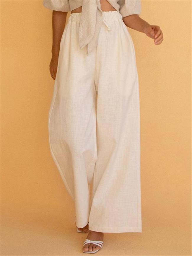 Casual Style Cotton Linen Wide-Leg Drawstring Pocket Pants