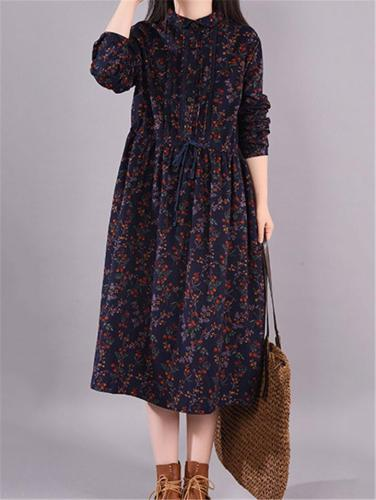 Casual Style Lapel Collar Button Up Waist Drawstring Floral Printed Midi Dress