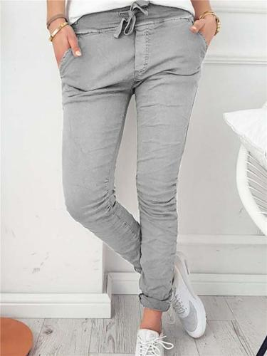 Casual Style Tapered Fit Stretchy Drawstring Pocket Pants