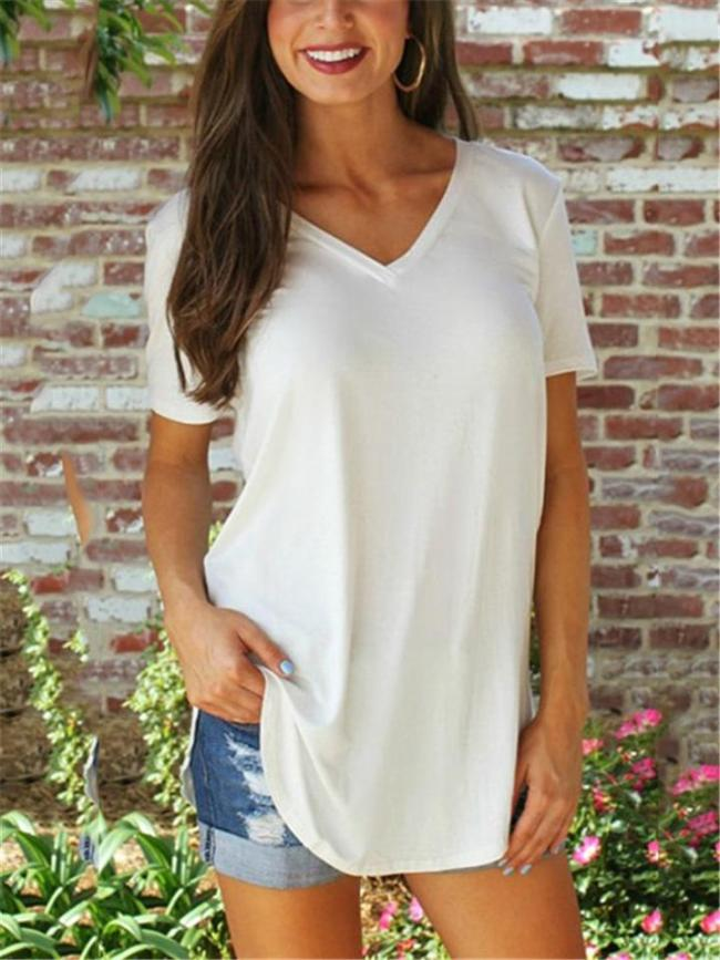 Slit Hem V Neck Short Sleeve Solid Color Pullover Tops