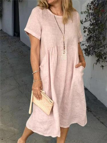 Minimalist Style Round Neck Long Sleeve Linen Midi Dress
