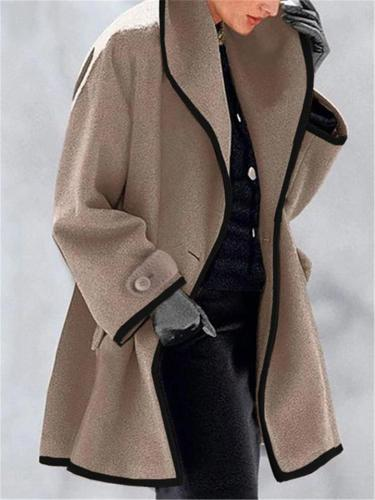 Loose Fit Midi Length Single Button Double-Woolen Hooded Coat