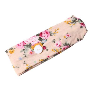 Breathable Soft Floral Printed Headband With Face Mask Buttons