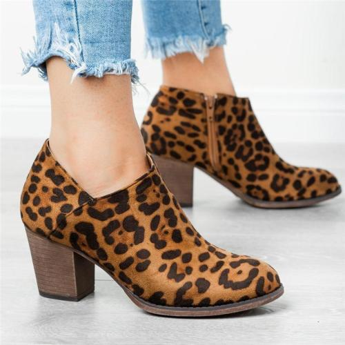 Fashionable Side Zipper Leopard Chunky Heel Short Boots