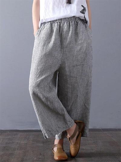 Casual Elastic Waistband Pocket Striped Wide-Leg Cropped Pants