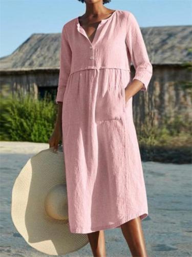 Women Cotton Linen Half Sleeve Midi Dress With Pockets