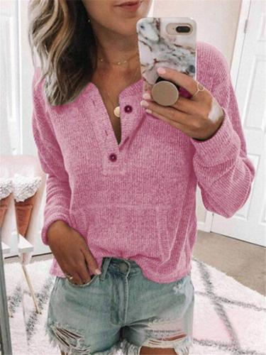 Solid Color Quarter Button Up Round Neck Long Sleeve Shirt