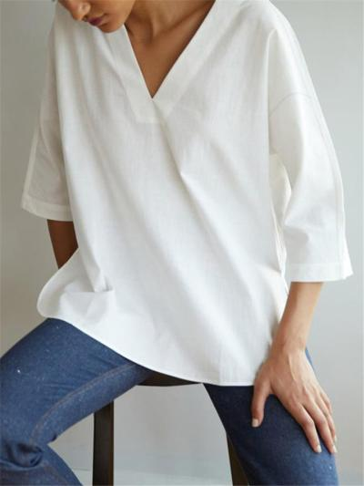 Loose Fit V Neck 3/4 Sleeve Solid Color Pullover Tops
