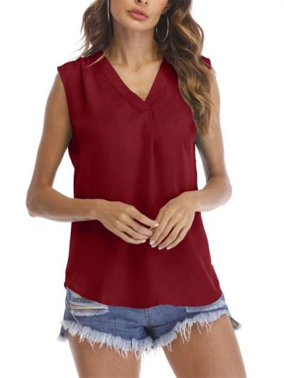 Casual Style V Neck Solid Color Sleeveless Chiffon Tank Tops
